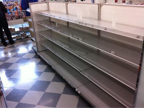 Empty supermarket shelves in Tokyo