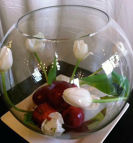 Glass Bubble Bowl & White Tulip Swirl