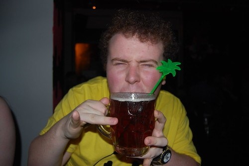 What is that stuck in his pint?