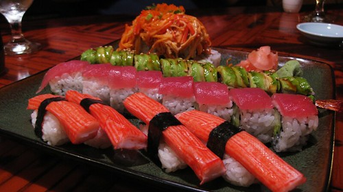 crab sushis, red dragon roll, green dragon roll, volcano special roll