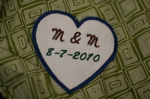 M + M's wedding quilt