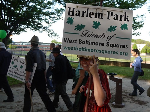 Mary Couri in Harlem Park on the West Baltimore Squares Spring Walk