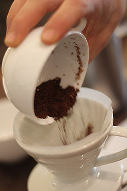 ground coffee in filter