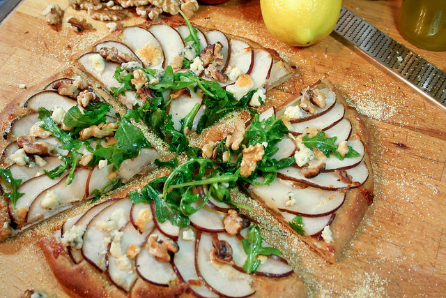 Paleo Blue Cheese, Walnut, and Pear Pizza