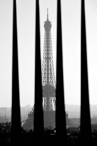 Monochrome Eiffel Tower behind bars