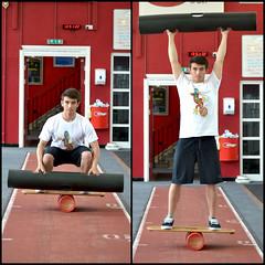 VIPR bar squat to overhead press