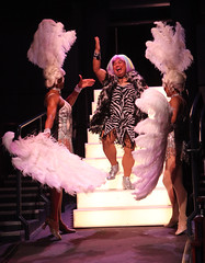 (L to R) Thay Floyd (Mercedes), Reggie De Leon (Jacob) and Christopher Shin (Phaedra) in La Cage aux Folles, produced by Music Circus at the Wells Fargo Pavilion August 19-24, 2014. Photos by Charr Crail.