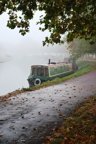 Riverboat in the mist