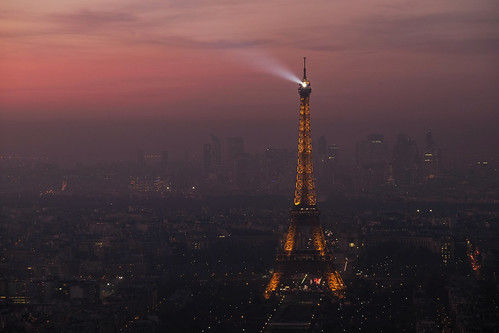 Eiffel Tower at dusk from the Montparnasse Tower
