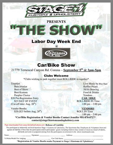 "CORONA CA USA - ""The Show Labor Day Week End Car and Bike Show"" September 5 Saturday 2 PM to 5 PM - vendors available – clubs that wish to park together must ride in together - www.SoCalCarCulture.com • <a style=""font-size:0.8em;"" href=""http://www.flickr.com/photos/134158884@N03/21119902172/"" target=""_blank"">View on Flickr</a>"