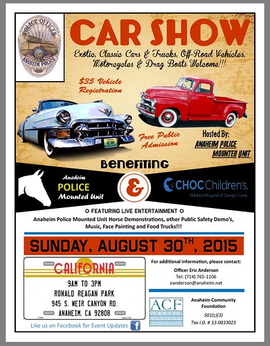 """ANAHIEM CA USA - """"POLICE OFFICE ANAHIEM POLICE CAR SHOW"""" Sunday August 30 - 9am to 3pm - Live Music, Safety Demo, Face Painting, Food Truck - credit: www.SoCalCarCulture.com • <a style=""""font-size:0.8em;"""" href=""""http://www.flickr.com/photos/134158884@N03/20345992264/"""" target=""""_blank"""">View on Flickr</a>"""