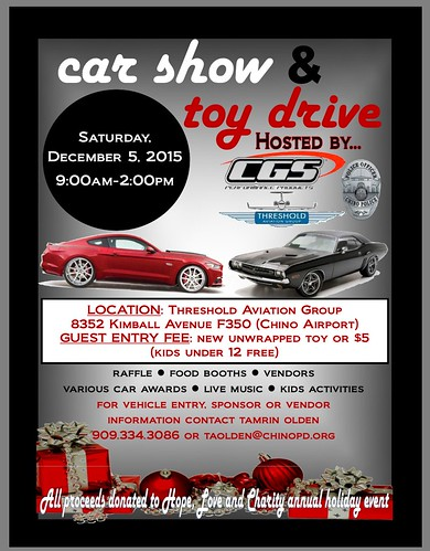 "CHINO CA USA "" Car Show Aand Toy Drive"" December 5, Saturday - 9am to 2pm - Threshold Aviation Group -  live music , vendors , car awards,  kids activity, food booths,  raffles - Credit: www.SoCalcarculture.com • <a style=""font-size:0.8em;"" href=""http://www.flickr.com/photos/134158884@N03/22881336604/"" target=""_blank"">View on Flickr</a>"
