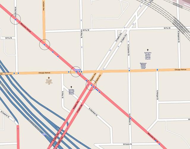 Bike crash map of Ogden, Milwaukee, Chicago