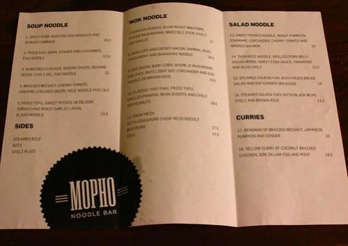 Mopho Noodle Menu