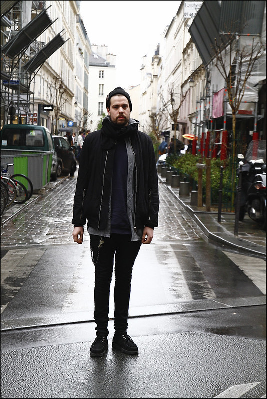 WDYWT - A Rainy Day in Marais - Creepers, Biker Jeans, FCRB Key Chain, Balmain Sweatshit, Undercover Vest, Rick Owens Bomber, CM Scarf and Hat with Givenchy Pin - 1