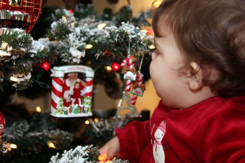 looking at her sister's ornament