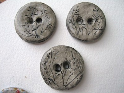 Bamboo polymer clay buttons