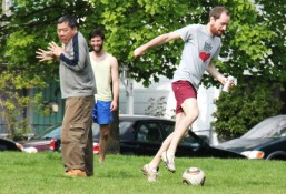 Dean dekes out Kim   Strathcona Soccer Club
