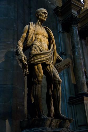 St Bartholomew Statue in Milan Duomo