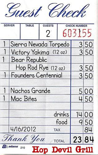 Hop Devil Grill receipt