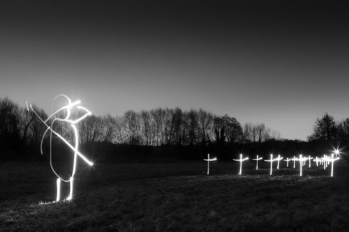 Some Corner Of A Field (Black and White Light Painting)