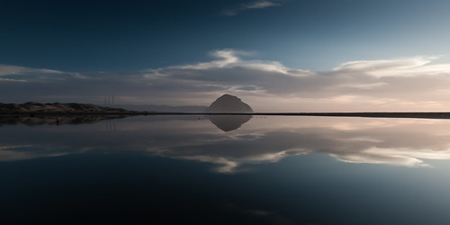 Morro Rock Reflecting in a Lagoon.