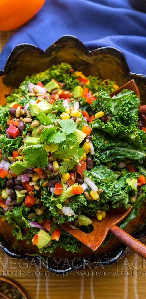 A colorful Southwestern Kale salad filled with flavor and nutrients. Boring salads be gone! Gluten-free, Soy-free, Nut-free, and Vegan.