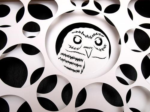 Circles and Animals- Grumpy Owl Paper Cut-2