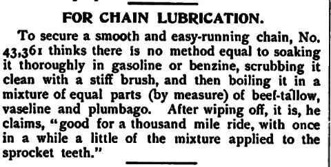 Chain lube advice, 1898