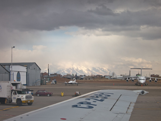 View from my plane upon arrival at El Alto airport in La Paz