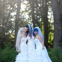Kitten, Brynn, and Doll's rainbow garden of poly love three-bride wedding