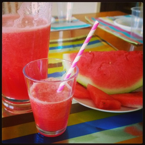 Another item on the birthday party menu: Fresh watermelon juice.