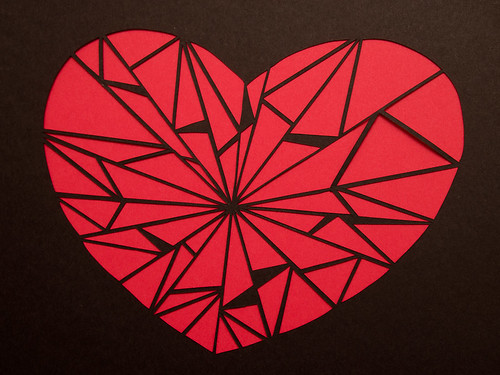 Abstract paper cut heart-5