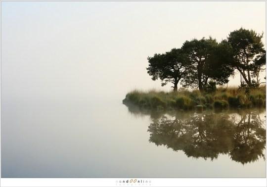 De horizon is zichtbaar, dan weer onzichtbaar waardoor het eiland in de leegte zweeft
