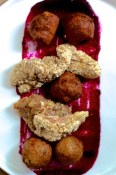 Fried chicken with beet ketchup and garden beignets | Blacktail Florist