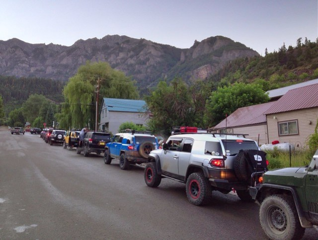 Line-up for trail run, FJ Summit, Ouray, Colorado, 2013