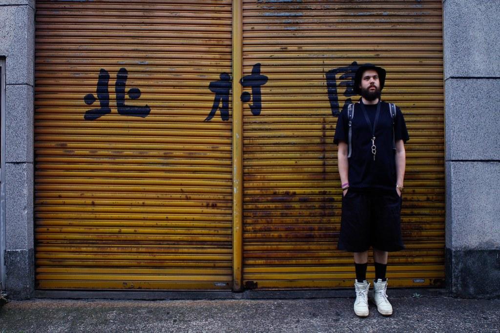 Tuukka13 - Greetings From Tokyo - 08.2013 - Rick Owens Sneakers, Damir Doma Shorts, Dior Homme T-Shirt, KVA Backpack, Givenchy Lanyard and Muji Bucket Hat -1
