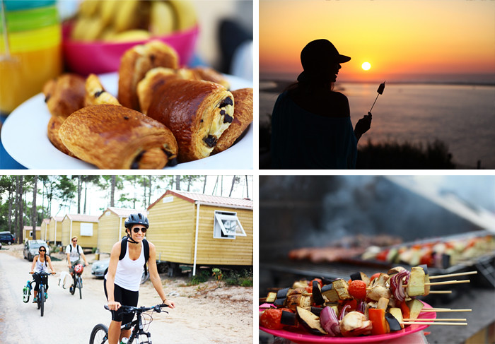 Cycling and surfing holiday montage