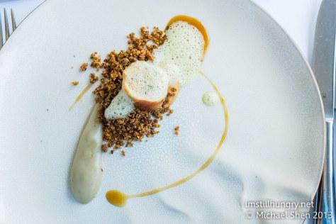 Chicken w/Jerusalem artichoke, macadamia crunch & lemon thyme emulsion & foam berowra waters inn