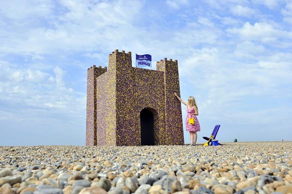 Cadbury Dairy Milk Pebbles Castle on display at Brighton beach