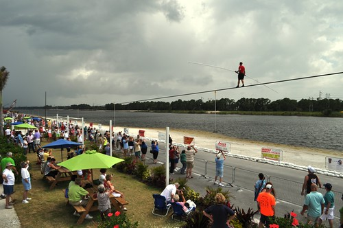 Nik Wallenda Trains for June 23, 2013 Grand Canyon Walk at Nathan Benderson Park, Sarasota, Fla., June 16, 2013