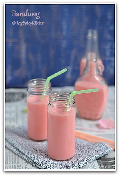 Malaysian Food, Malaysian Cuisine, Air Bandung, Rose Syrup Milk Drink