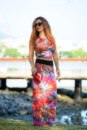 Long Straight Skirt + Sunny Top in Splash