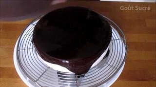 Entremet samba : mousse chocolat avec un coeur de crème anglaise