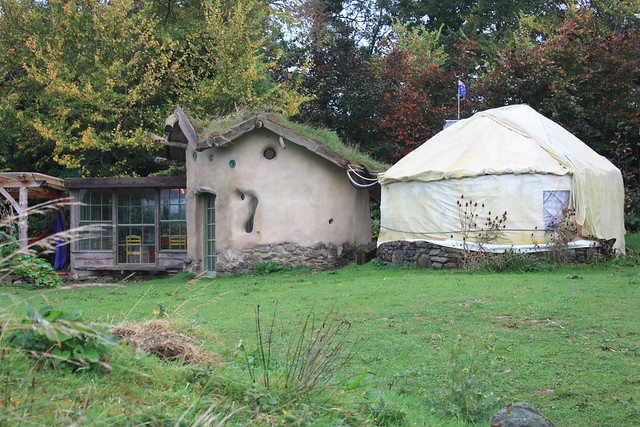 The communal kitchen and the showers (yurt on the right) at Inch Hideaway