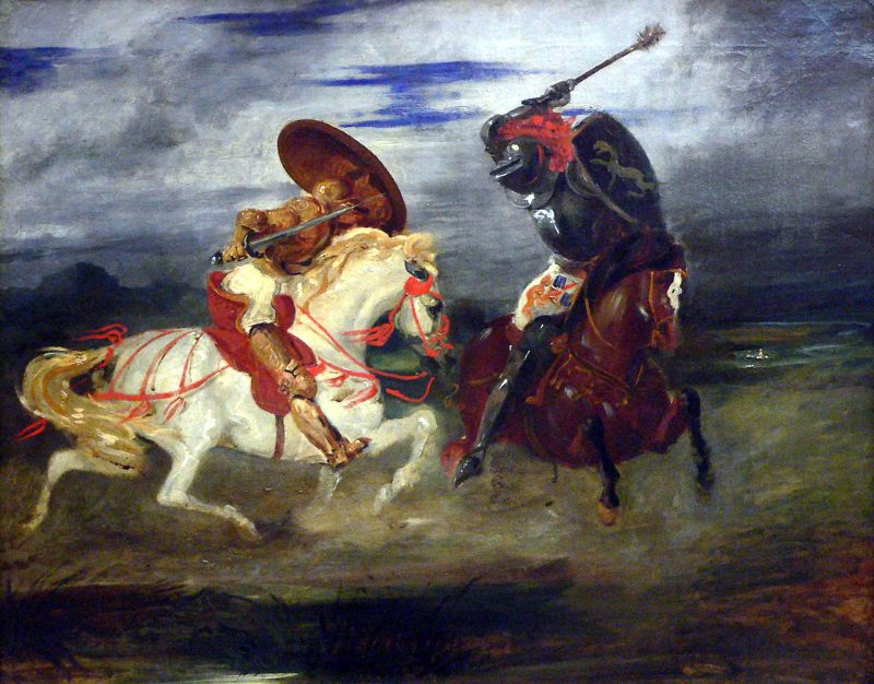 Fight of knights in the counry side by Eugène Delacroix, c.1824
