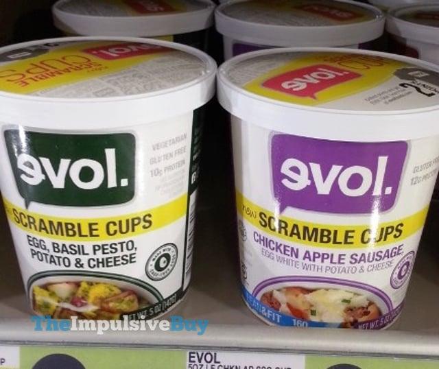 evol Egg, Basil, Pesto, Potato & Cheese and Chicken Apple Sausage Scramble Cups