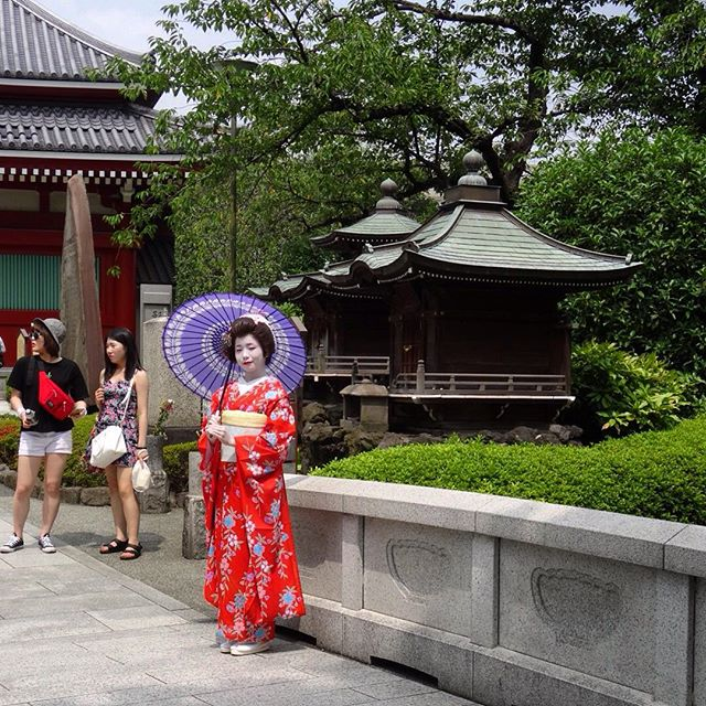 Beautiful Geisha at Asakusa Temple in Tokyo, Japan