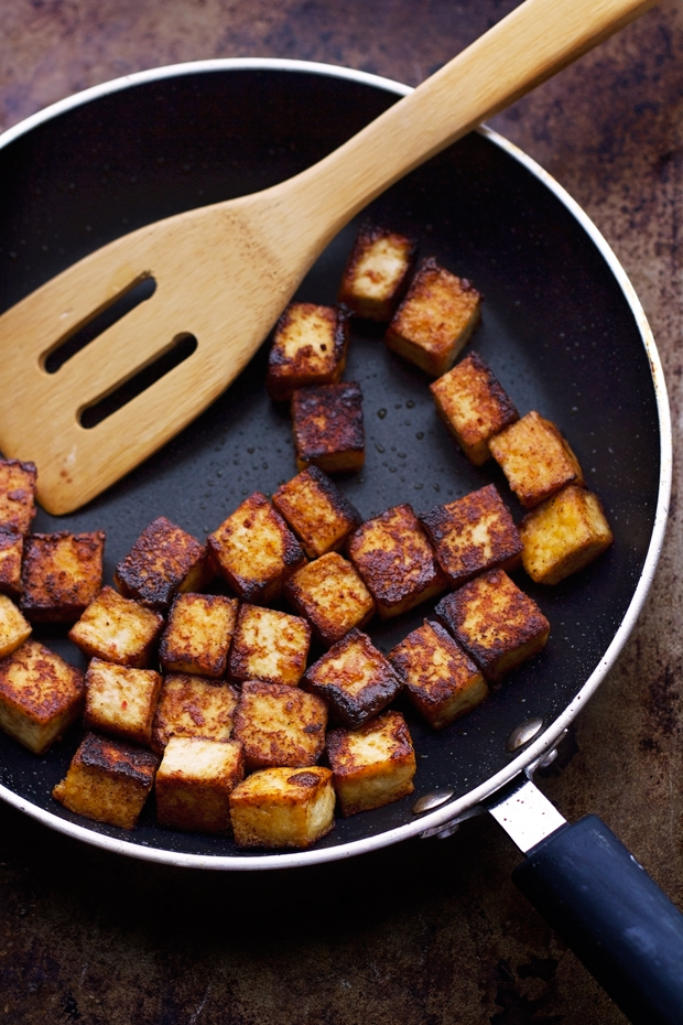 ... that the basic trick dry the tofu i get extra firm tofu and to give it