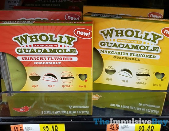 Wholly Guacamole Sriracha Flavored and Margarita Flavored Guacamole